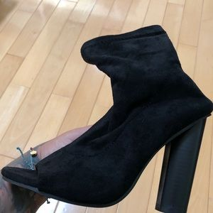 Shoes - Peep toe Booties, stretch shaft